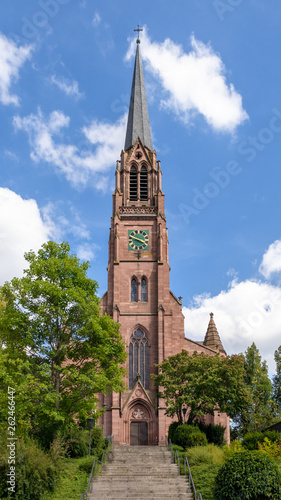 the red sand stone church at Nagold Germany - 262466447