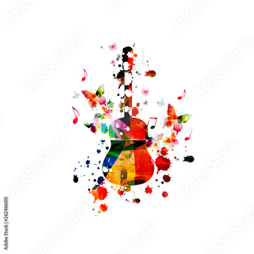 Colorful guitar with music notes isolated vector illustration design. Music background. Guitar poster with music notes, music festival poster, live concert events, party flyer © abstract