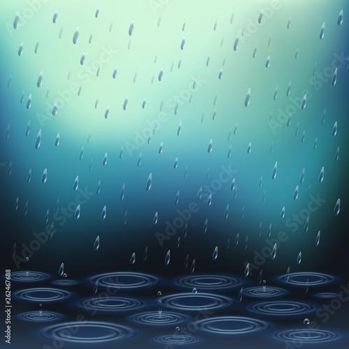 Realistic Falling Rain Background - 262467688