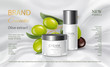 Vector glass cosmetic jar with green olives. Face, body cream advertising. Realistic 3d illustration