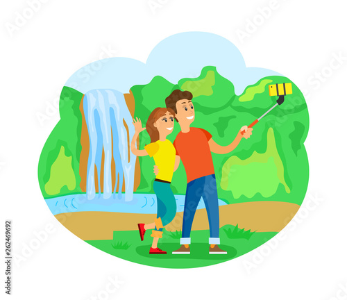 Romantic trip or journey, travelers couple at waterfall taking selfie vector. Man and woman with smartphone, wild nature, world exploration, traveling - 262469692
