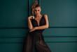 Fashionable elegant lady posing.