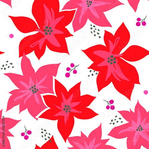 Christmas Winter Poinsettia Flowers Seamless Pattern. Floral Background - 262471219