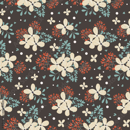 Fashionable pattern in small flowers. Floral seamless background for textiles, fabrics, covers, wallpapers, print, gift wrapping and scrapbooking. Raster copy - 262489438
