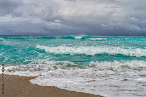 coast of the atlantic ocean during a storm, waves - 262489468