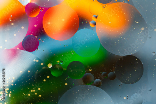 Beautiful abstract space background, mixed drops and water and oil. - 262495078