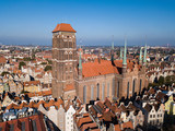 Aerial view Saint Mary Cathedral in Gdansk Poland