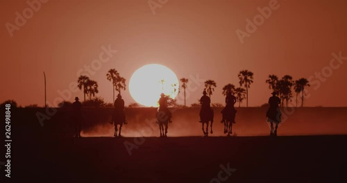 Spectacular view of a Group of horse riders riding into the palm treed orange sunset of the Makgadikgadi salt Pans with