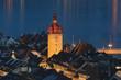 canvas print picture - Beleuchteter Turm des Rathauses von Luzern, Schweiz