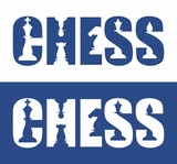 Text - CHESS with spaces in the form of chess pieces.
