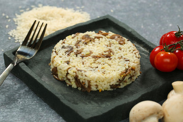 delicious rice with mushrooms