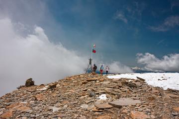 Some hikers near the Quintino Sella refuge, on the Monte Rosa glacier, in Italy.