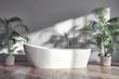 Modern bright bathroom interiors 3D rendering illustration - 262518264