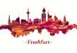 Frankfurt Germany skyline in red