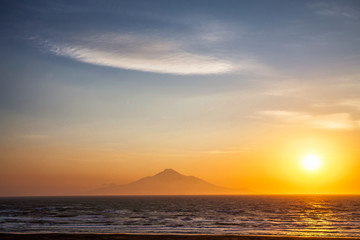 Sunset view of Rishiri Island and Mountain from Wakkanai, Hokkaido, Japan