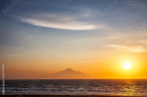 Sunset view of Rishiri Island and Mountain from Wakkanai, Hokkaido, Japan