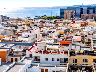 Las-Palmas Gran Canaria, Spain, on January 8, 2018. A view of a coastal part of the city and the ocean from the survey platform of the cathedral