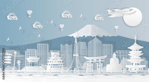 Famous landmarks in Japan Templates for advertising air tickets and tickets with the concept of traveling to Japan. Vector - paper cut pattern © TK_sukrit