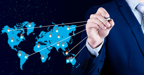 businessman world map