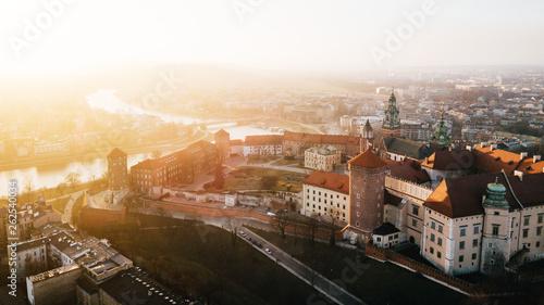 Zamek Królewski Panorama z powetrza - Zachód Słońca