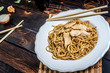 Asian noodles with chicken meat
