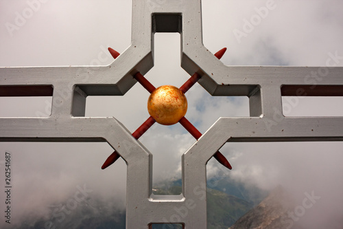 Summit cross on the top of the Scopi, in Switzerland - 262541687