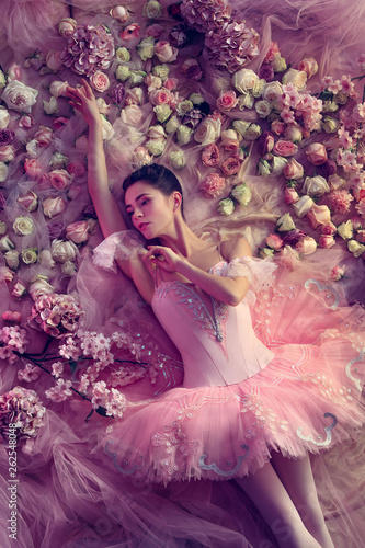 Thinking. Top view of beautiful young woman in pink ballet tutu surrounded by flowers. Spring mood and tenderness in coral light. Art photo. Concept of spring, blossom and nature's awakening. © master1305
