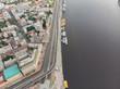 aerial view of city riverside. rivershore. copy space