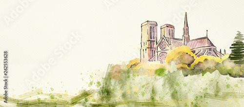 Notre Dame of Paris. Watercolor background - 262553628