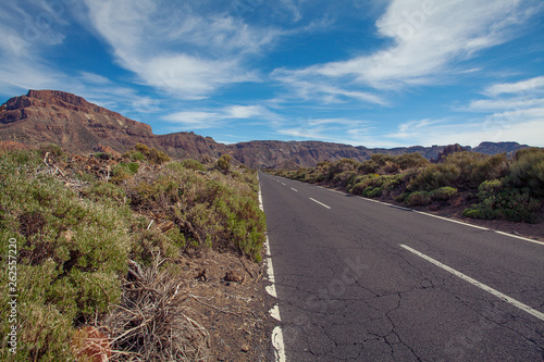 canvas print picture Road  in Mountain on Canary Islands Tenerife. Landscape with road, mountain and sky