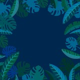 tropical leaf frame on dark night background