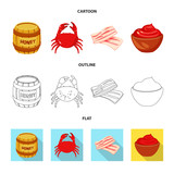 Isolated object of taste and product logo. Set of taste and cooking stock symbol for web.
