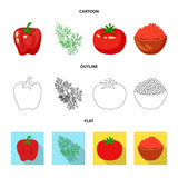 Isolated object of taste and product logo. Set of taste and cooking vector icon for stock.
