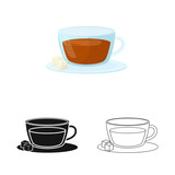 Vector design of cup and tea logo. Set of cup and breakfast stock symbol for web.