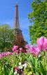La Tour Eiffel avec des arbres et des fleurs en premier plan sur fond de ciel bleu