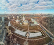 Orthodox cathedrals in architecture-historical ensemble Rogozhskaya sloboda in Moscow, Russia. Aerial dorne view