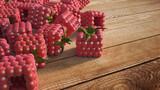 Cubic raspberries  on wood