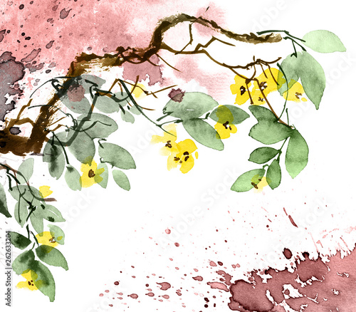 Watercolor blossom tree © ola_tarakanova