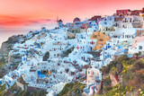 Santorini, Greece. Iconic landmark on Santorini island in Greece - sunset point with outstanding view on traditional white Caldera architecture. Vacations background, famous travel destination.