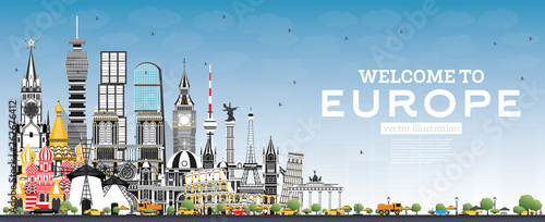 Welcome to Europe Skyline with Gray Buildings and Blue Sky. - 262676412