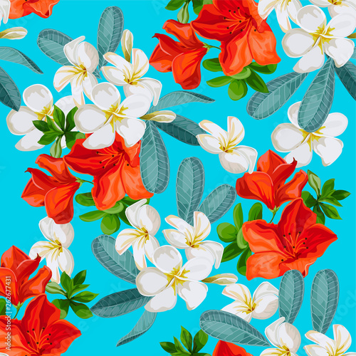Seamless pattern tropical flower in Color brillante style -vector © Weera