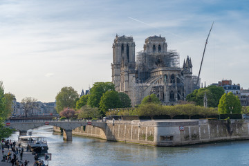 Paris, France - 04 17 2019: The day after the fire at Notre-Dame Cathedral
