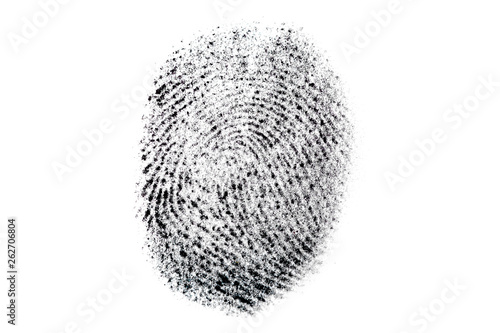 Real fingerprint on white background. Dactylogram, biometric and personal identification concept. Macro