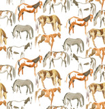 hand-painting horses seamless pattern