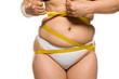 Leinwandbild Motiv a fat woman measuring her belly on white background