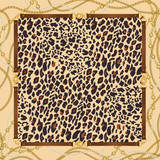 Fashion  background with  leopard pattern, golden chains and belts. Animal print with gold chain for fabric, scarf, textile, wrapping, wallpaper. Vector illustration - 262711270