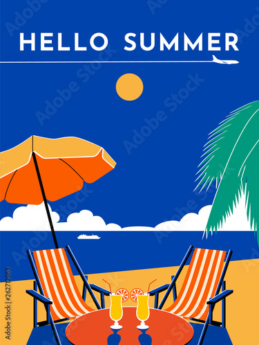Hello Summer travel poster. Sunny day, beach, sea, umbrella, chair, chaise longue, cocktail, palm tree, plane, sky, cruise liner. Vector flat illustration. - 262712083