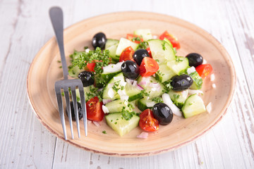 vegetable salad with cucumber and olive