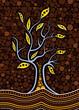 Tree on the hill, Aboriginal tree, Aboriginal art vector painting with tree. - 262720252