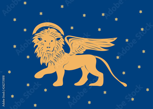 Winged Venetian Lion of Saint Mark or San Marco as a symbol of Venice Republic and region of Veneto vector illustration. The Lion of Venice with stars.